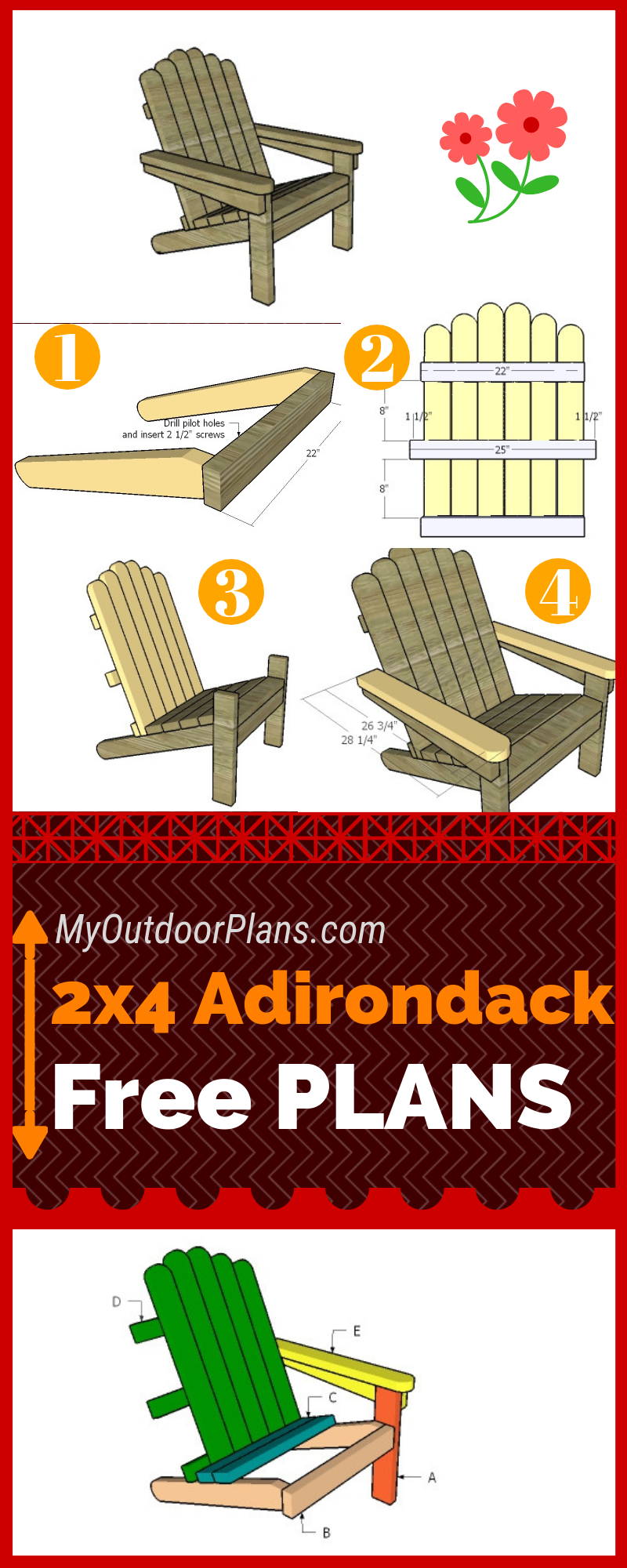 2×4 Adirondack Chair Plans #woodworkingprojectschair