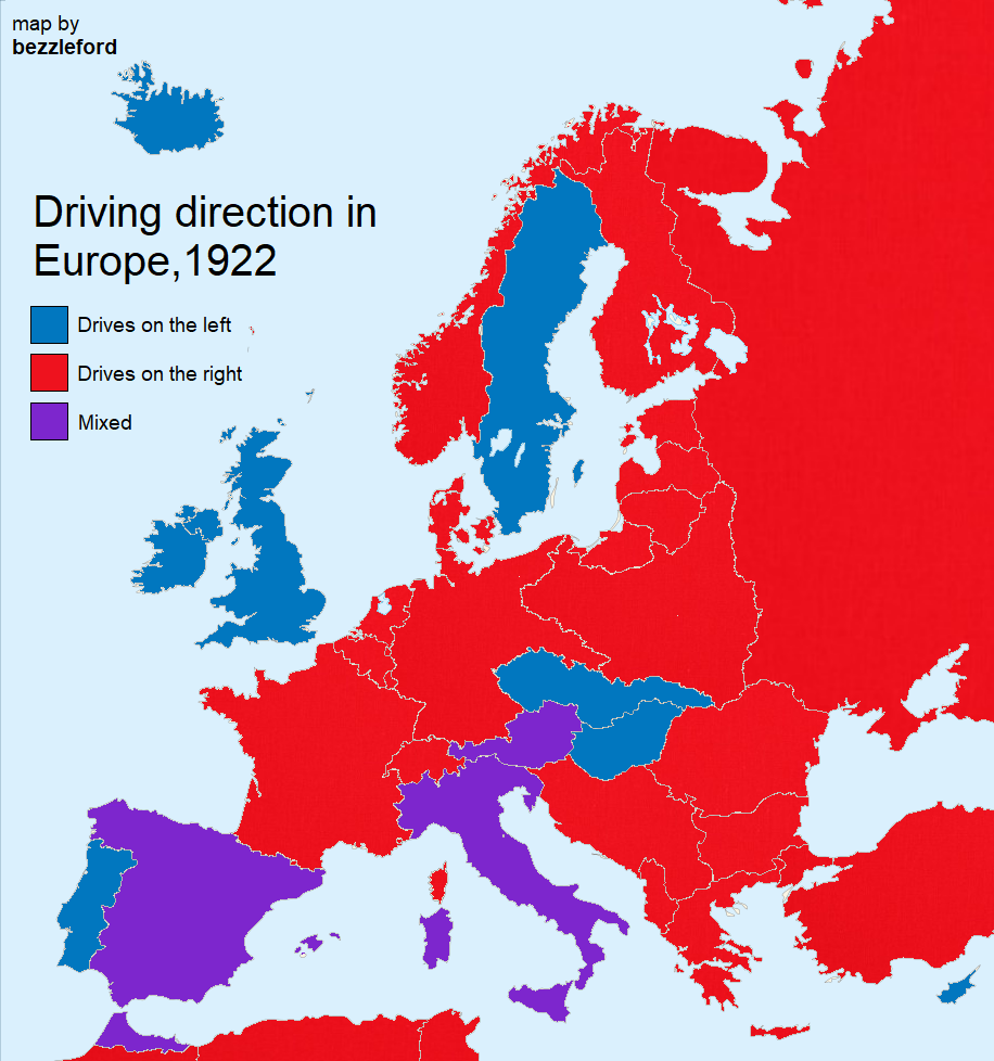 Countries driving on the left or right Vivid Maps in