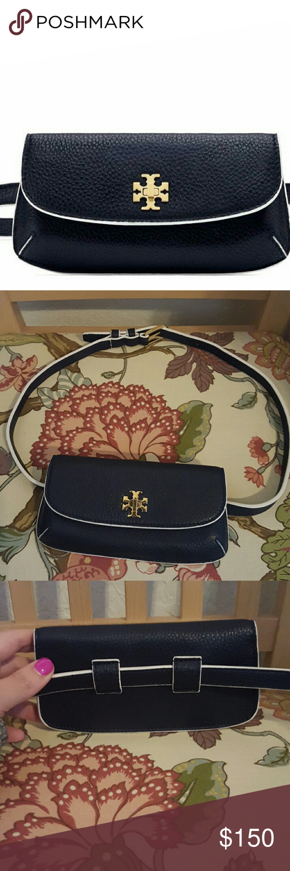 97e489c76f64 NWOT Tory Burch Diana Belt Bag Tory Burch Diana Belt Bag in navy blue  leather with