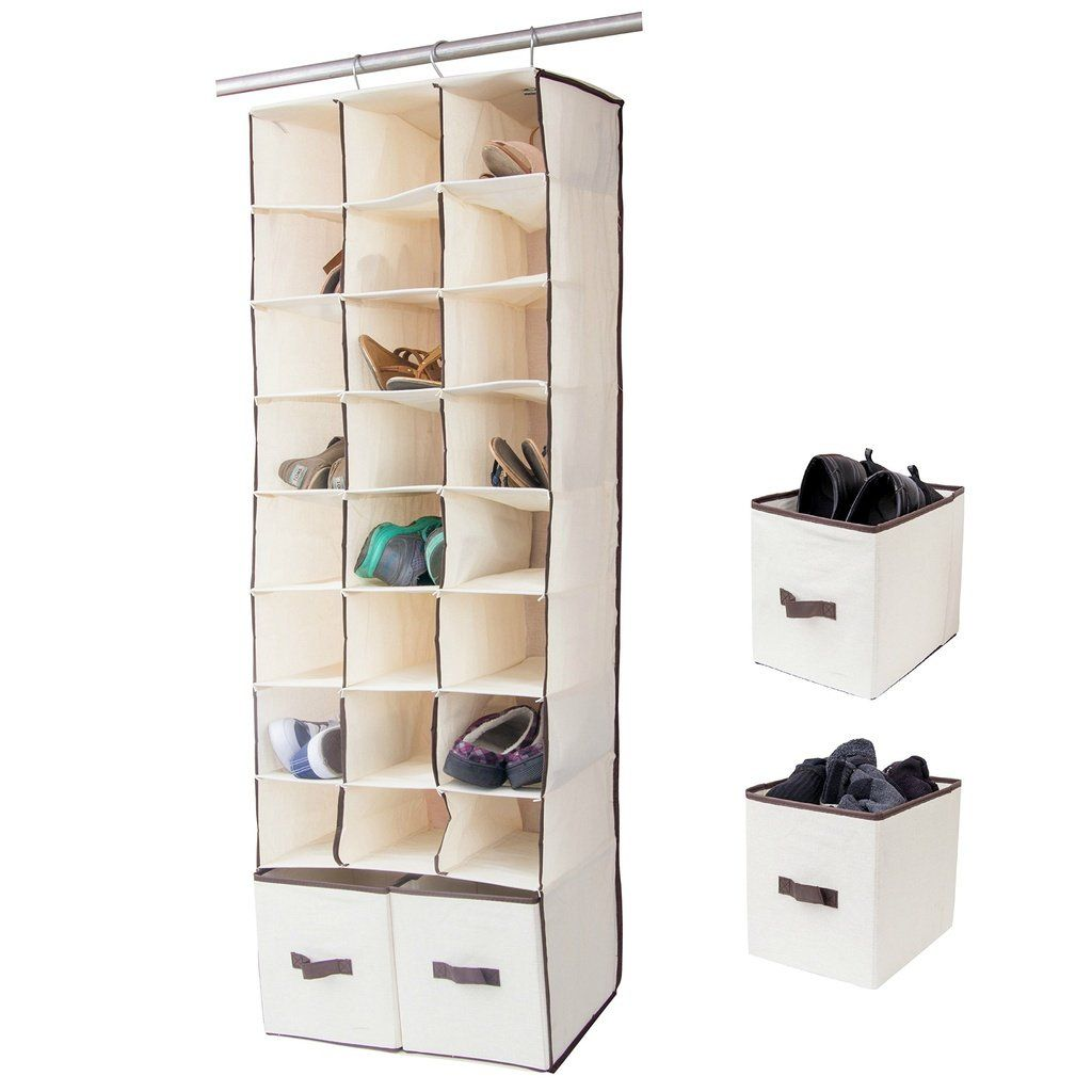 24 Slot Hanging Organizer In Closet Over Rod Shoe Caddy With Foldable Drawers Storage Bag Space Saving S Space Saving Shoe Rack Shoe Caddy Closet Shoe Storage