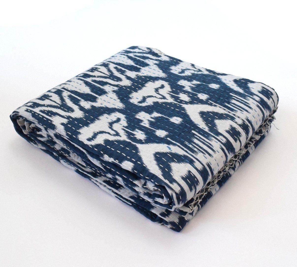 Indian Handmade Blue Kantha Quilt Bedspread Reversible Bedding Throw Queen Size