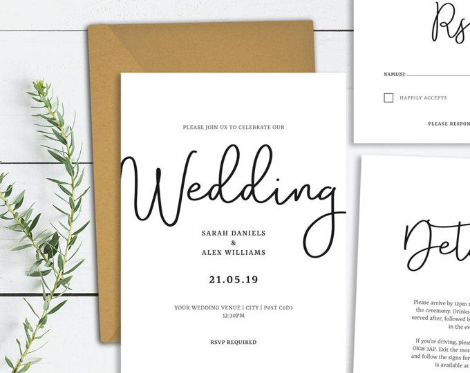 simple wedding invitation template calligraphy wedding invite