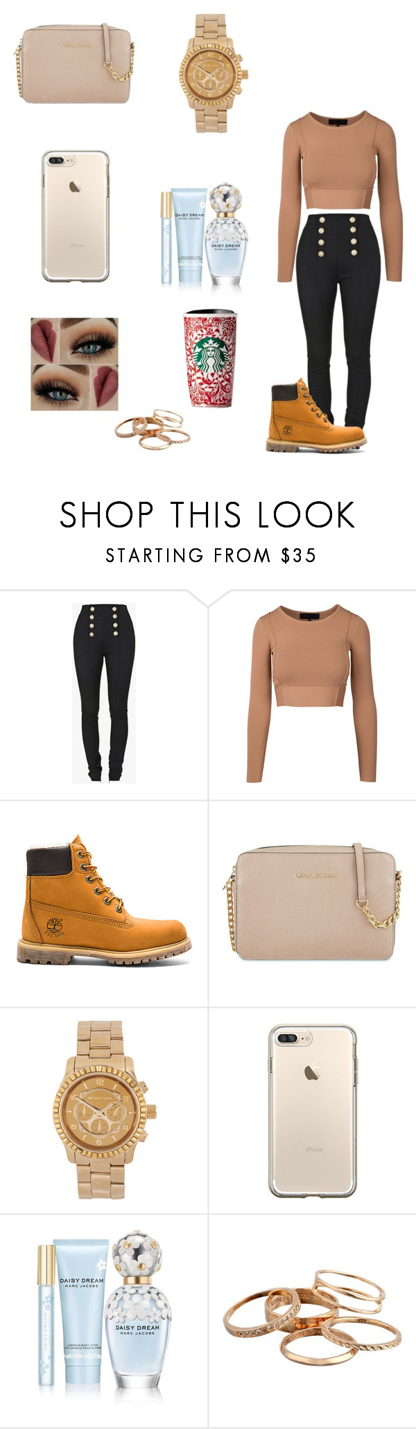 """Nude 👆🏽"" by dajahknox ❤ liked on Polyvore featuring Balmain, Timberland, MICHAEL Michael Kors, Michael Kors, Marc Jacobs and Kendra Scott"
