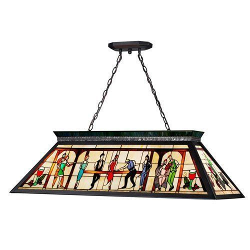 Tiffany Pool Table Light Stained Glass 4 Bulb Billiard Room Decor