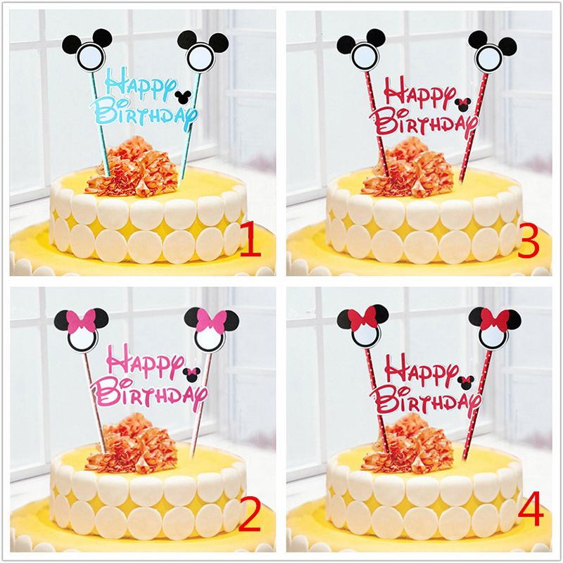 pas cher 1 conjunto mickey mouse th me cupcake g teau topper g teau drapeaux baby shower. Black Bedroom Furniture Sets. Home Design Ideas