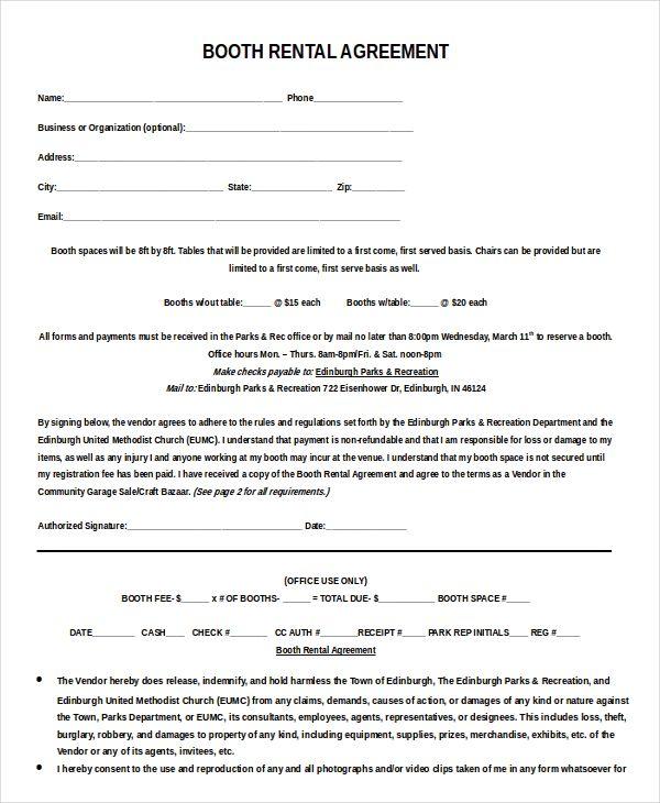 Booth rental agreement template Word Beyond the bridge Sample