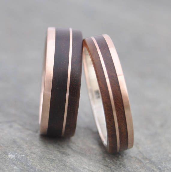 Rose Gold Un Lado Asi Wood Ring Ecofriendly 14k Recycled Rose Gold