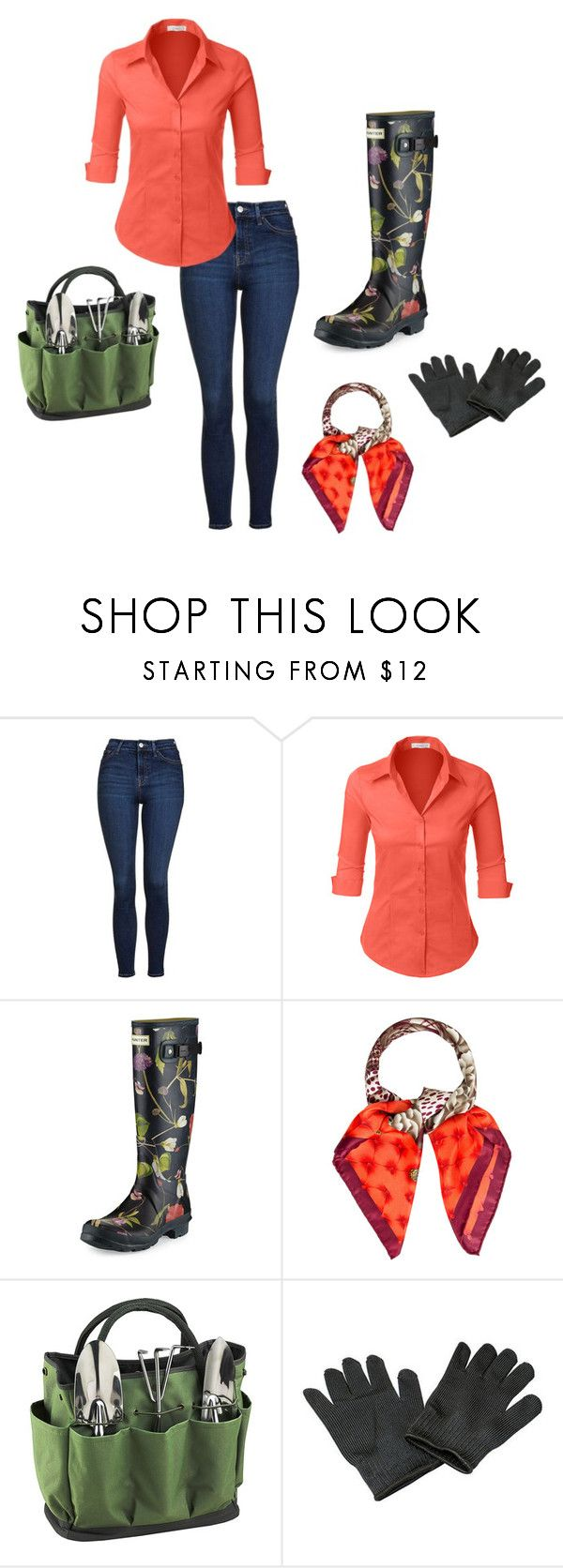 Gardening by hildefossen on Polyvore featuring LE3NO, Topshop, Hunter, Salvatore Ferragamo and Picnic at Ascot