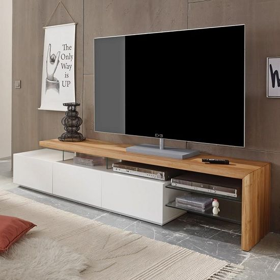Alanis Modern Tv Stand In Knotty Oak And Matt White With 3 Drawers Gl Shelves Is The Perfect Fresh Design For Home Decor
