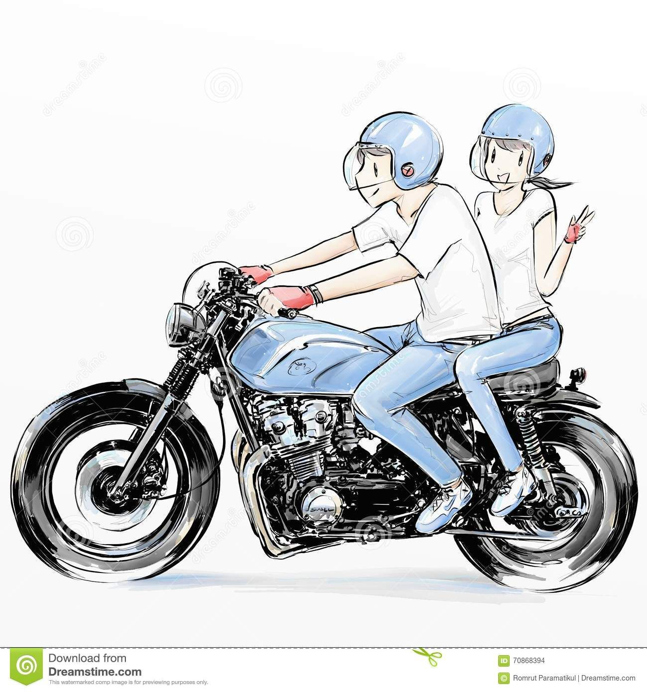 Cute Couple Riding Motorcycle Stock Illustration Illustration Of