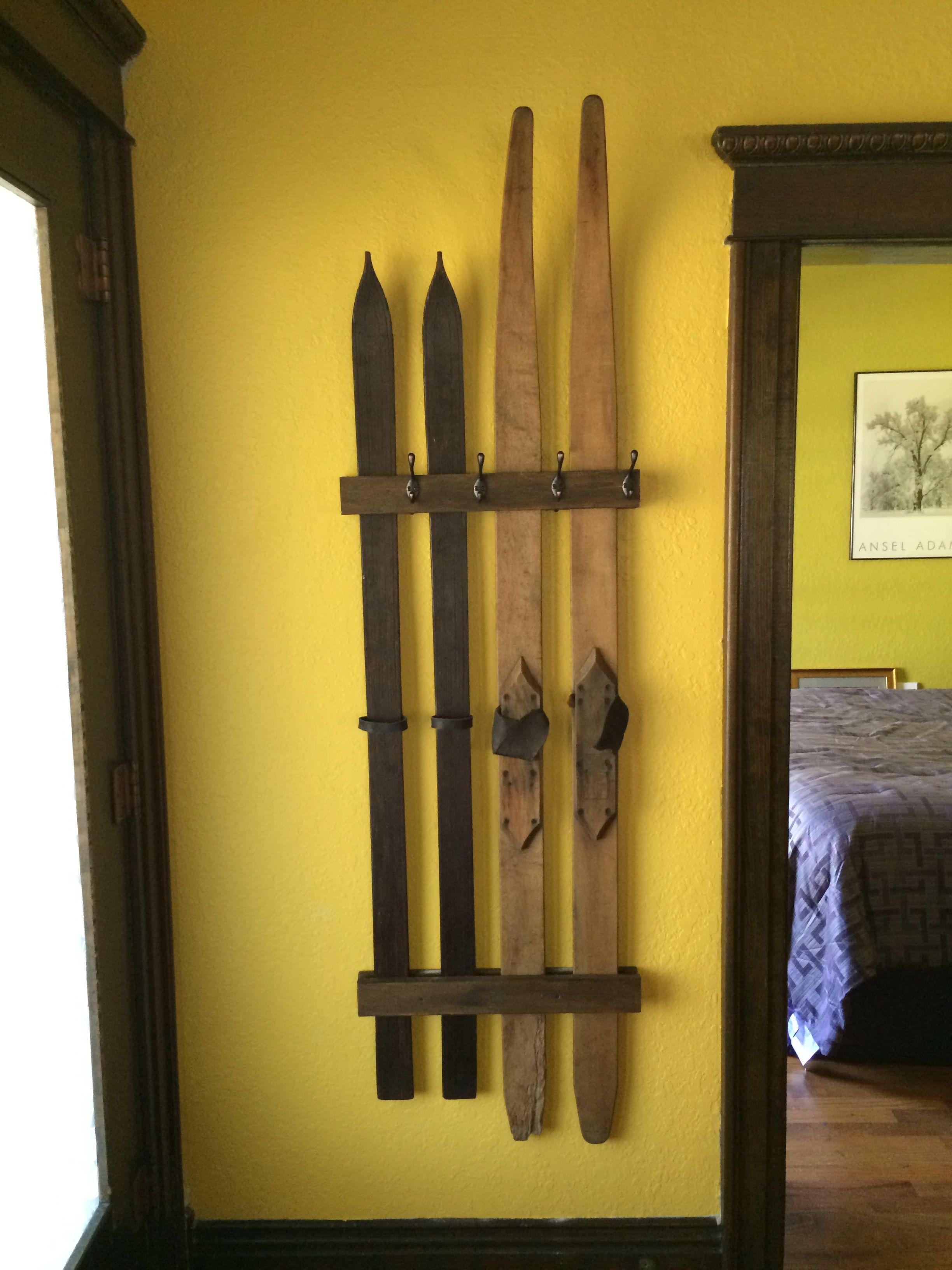 DIY Antique Ski Coat rack