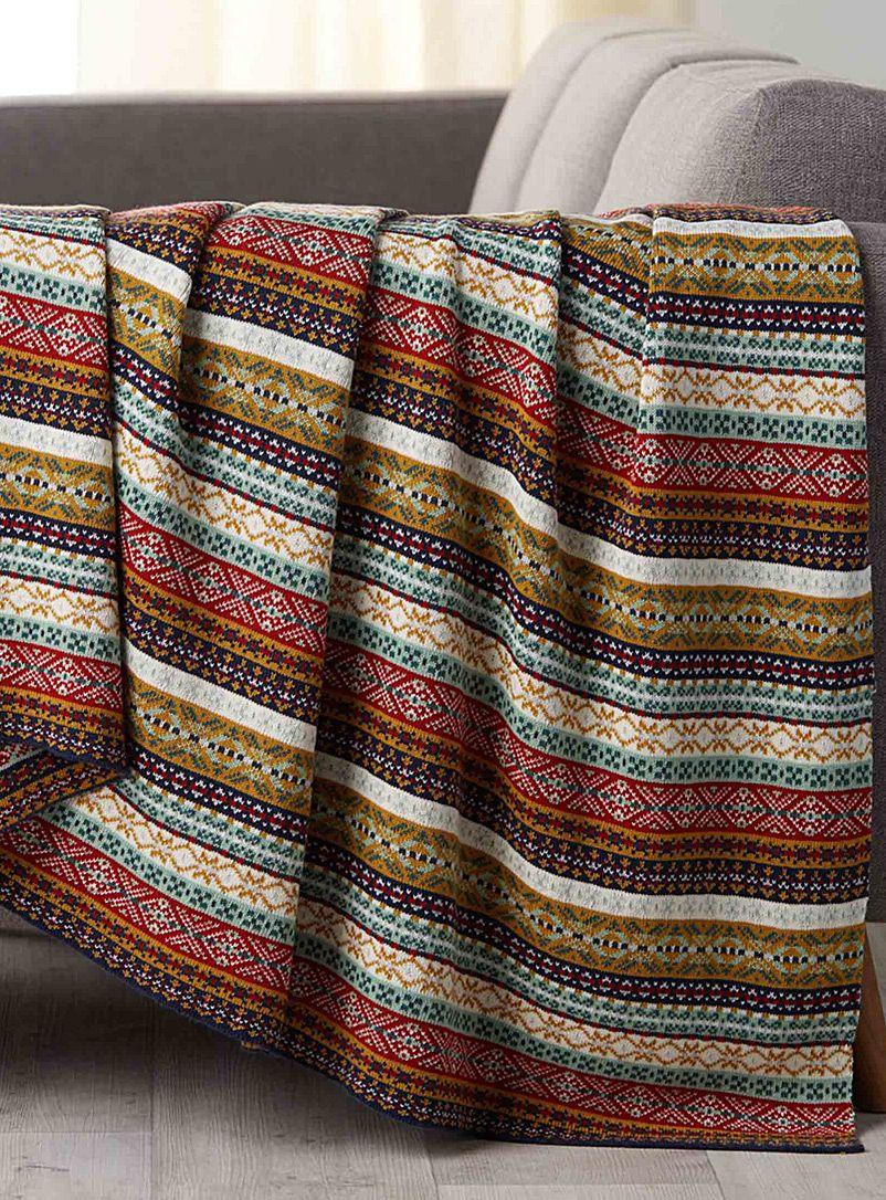 Le Jeté Losanges Et Rayures 130x150 Cm Simons Maison Couvertures Et Jetés En Laine Coton Et Moh Striped Throw Cotton Throw Blanket Striped Crochet Blanket