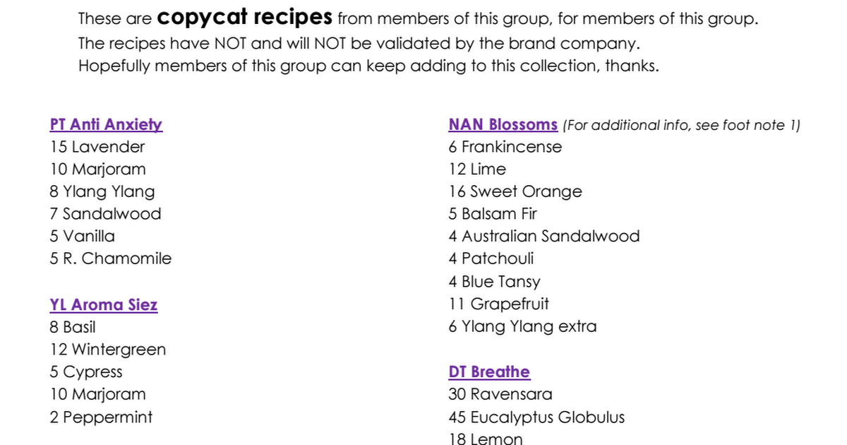 Copycat recipes pdf | Diffusers | Essential oil diffuser