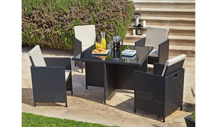 Buy Argos Home Cube 4 Seater Rattan Effect Patio Set Black Patio Sets Argos Argos Garden Furniture Rattan Garden Furniture Garden Furniture