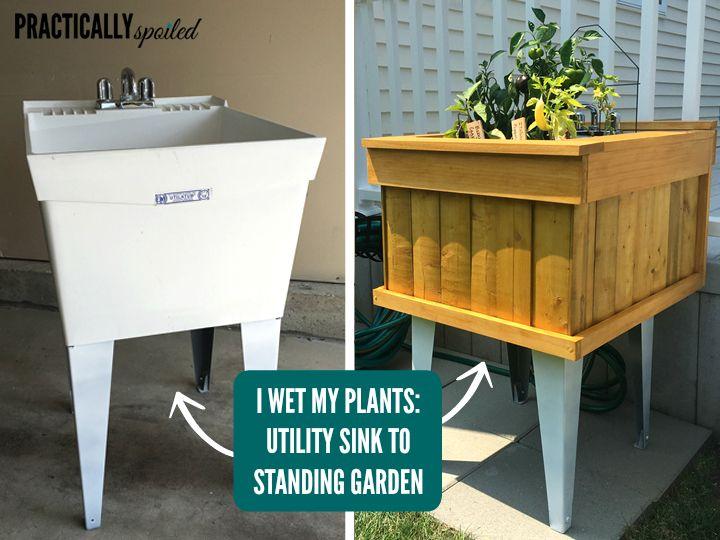I Wet My Plants: Utility Sink To Standing Garden DIY    Practicallyspoiled.com