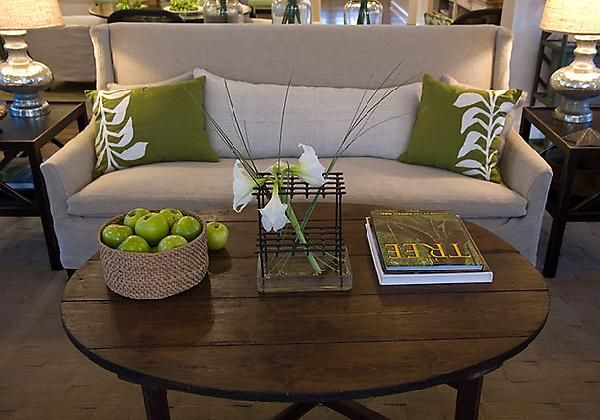 Green Home Tan Living Room Design Linen Upholstered Sofa With Rustic Round Coffee Table Throw Pillowetal Lamps Brown Cream