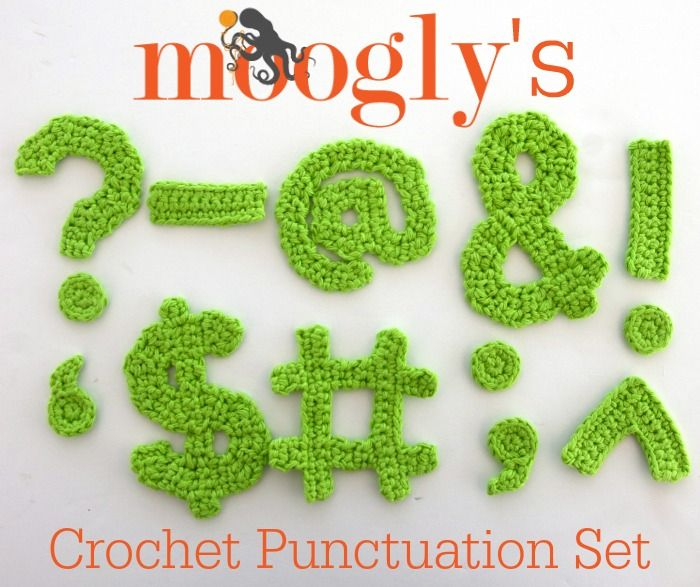 Moogly Crochet Punctuation Set - free full alphabet, numbers, and ...