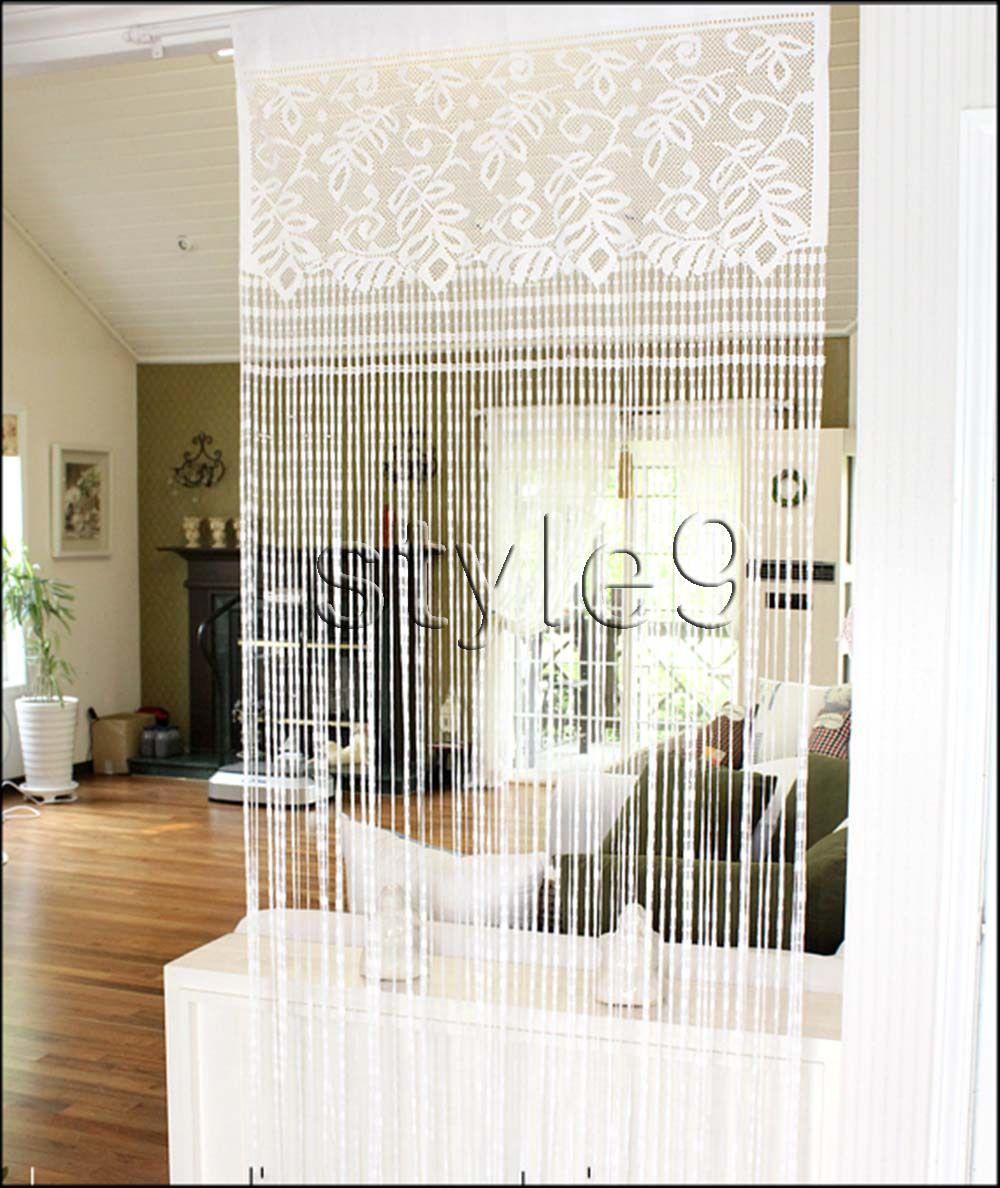 Lace Fringe Panel Doorway Curtain Room Divider