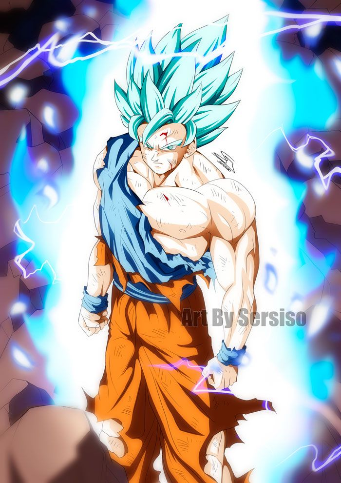 goku in super saiyan blue 2 by sersiso dragón ball pinterest