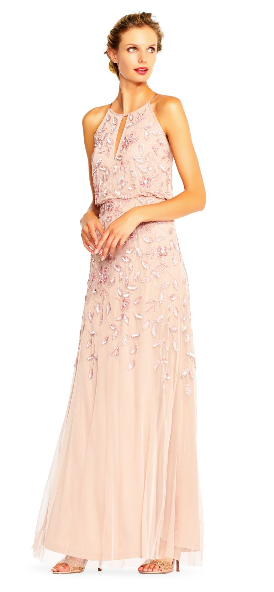 Floral Beaded Blouson Halter Gown   Pinterest   Halter gown ...