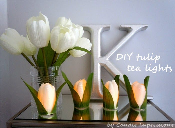 DIY Tulip Tea Lights with silk flowers  Candle Impressions Flameless Candles .... step-by-step tutorial included!