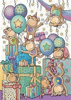 Fiesta De Changuitos Ilustraciones Cumpleaños Felicitaciones