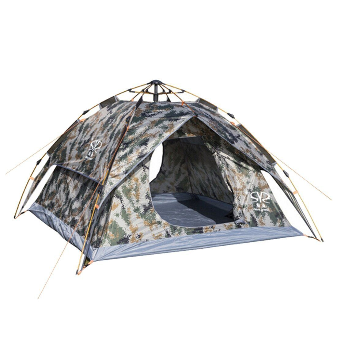 Qianle 4 Person Double Door Pop Up Instant Tent Travel Outdoor C&ing Camo u003eu003e Canu0027t believe itu0027s available see it now  Hiking tents  sc 1 st  Pinterest & Jiyaru Automatic Easy-Up Tent Double Layer 3-4 Person Outdoor ...