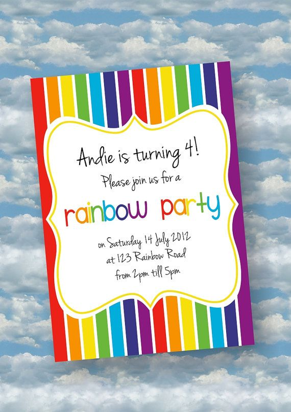 Rainbow Party Invitation by WithFlairPrints on Etsy 600 – Rainbow Themed Birthday Invitations