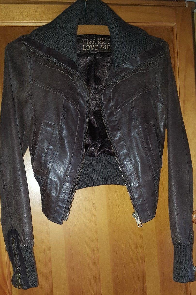 New Look Wear Me Work Me Love Me Brown Leather Bomber Jacket Zip Sleeves Size 8 Ebay Brown Leather Bomber Jacket Leather Bomber Jacket Fashion Clothes Women [ 1219 x 810 Pixel ]