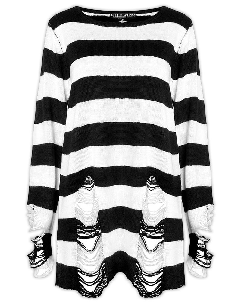 Killstar Pugsley Knit Sweater Top Black White Stripe Goth Baggy Grunge Jumper #KillStar #Sweatshirt