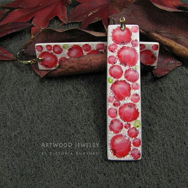 Wooden Jewelry with painting. Art on wood and by ArtWoodJewelry