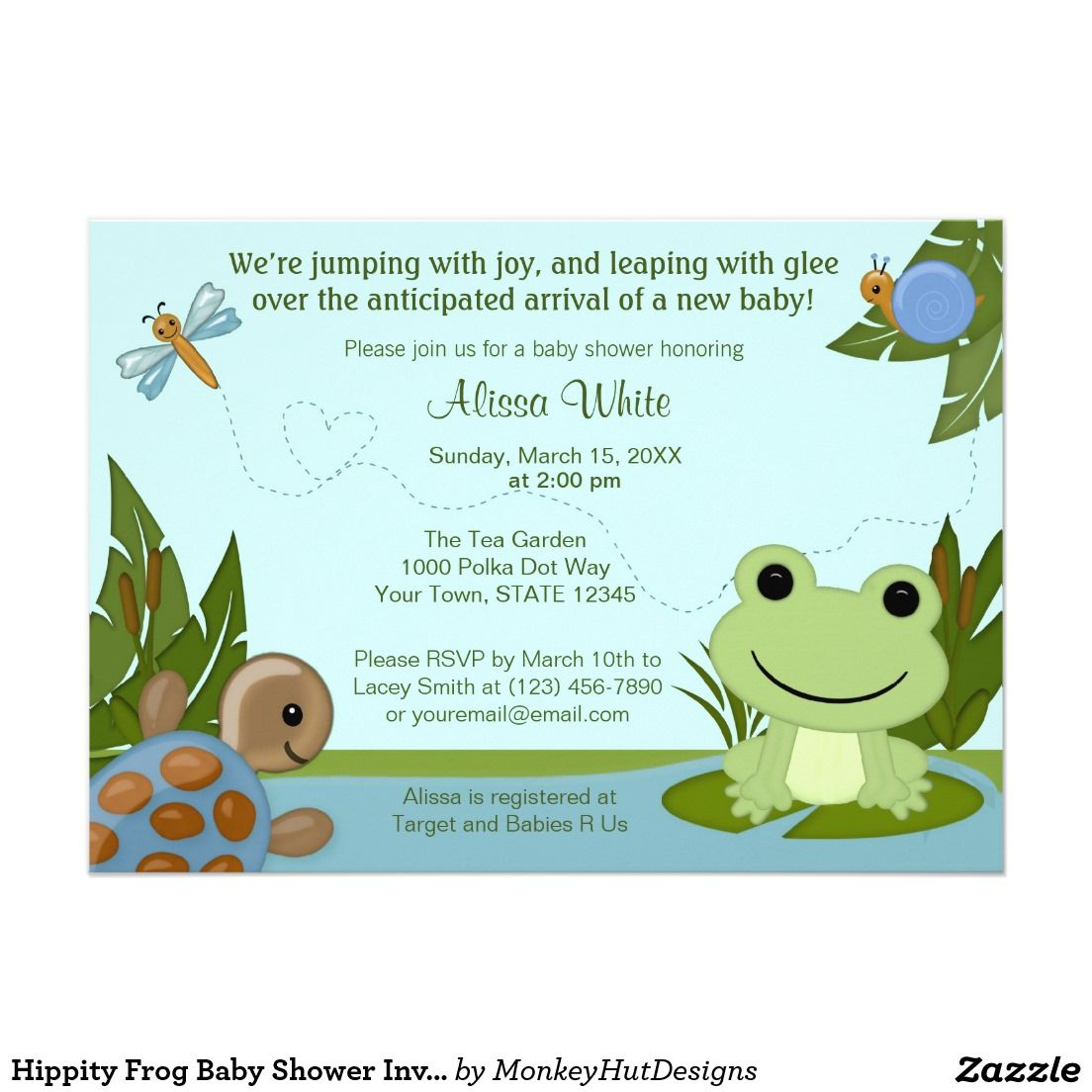 Hippity Frog Baby Shower Invitation turtle snail 5\