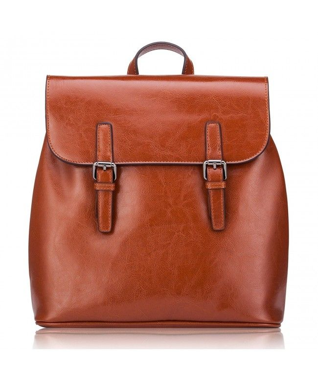 Women  s Small Genuine Leather Backpack Travelling School Satchel Bag  Casual Daypack With Vintage Design - Brown - CB185X95RIE  Bags  Handbags   Backpacks ... b5a02dc64c525