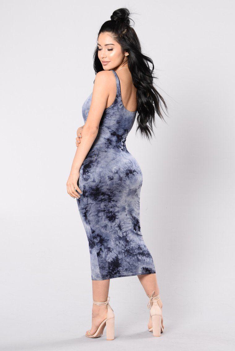 Tied In Dye Dress Navy Dresses, Dyed dress, Fashion