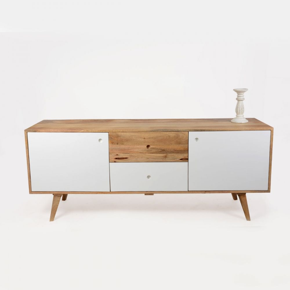 Buffet scandinave bois 2 portes artiq buffet de f te for Bois de manguier meuble