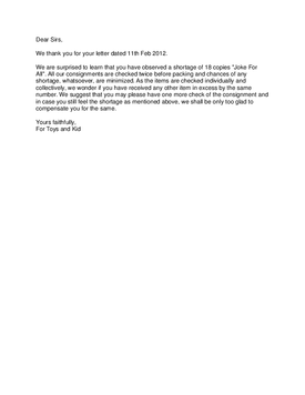 Reply Complaint Regarding Uncompleted Work Sample Letter Damaged