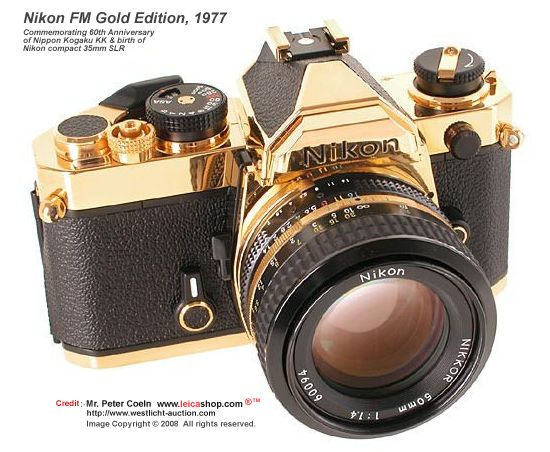 Nikon FM Gold, 1977 The gold plated Nikon FM was never officially ...