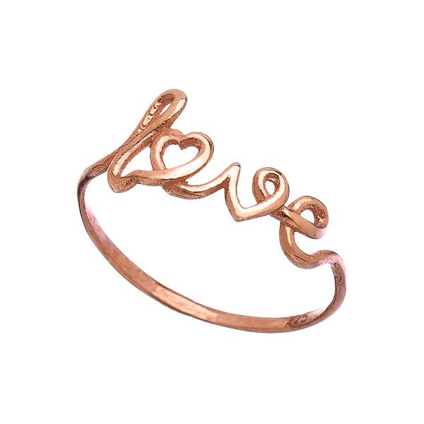 Max Chloe Signature Rose Gold Scripted Love Ring 43 liked on