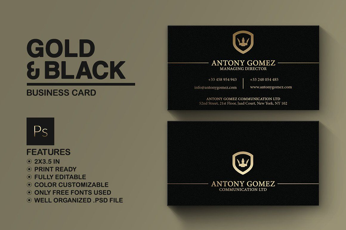 Simple Gold And Black Business Card Black Business Card Business Cards Creative Templates Business Cards Simple