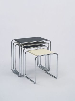 Marcel Breuer Nesting Tables (model Manufactured By Gebruder Thonet,  Austria Chrome Plated Tubular Steel And Lacquered Plywood