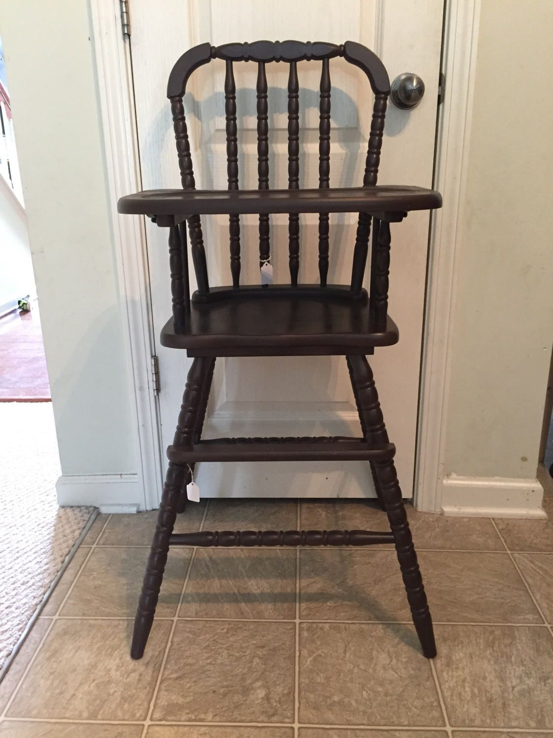 Painted wood high chair - Reserved Chocolate Color Vintage Wooden High Chair Jenny Lind Antique High Chair Vintage High Chair Custom Painted High Chair Wood