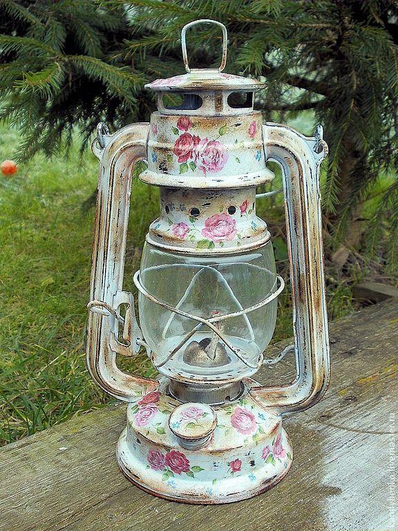 decorated oil/kerosene lamp