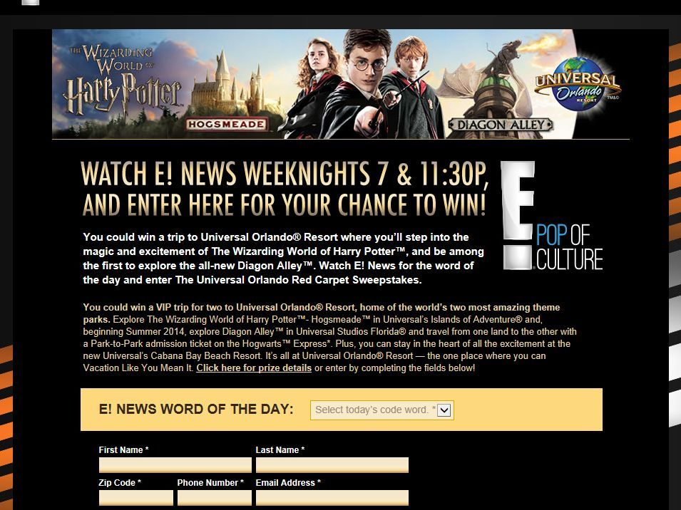 The Universal Orlando Red Carpet Sweepstakes