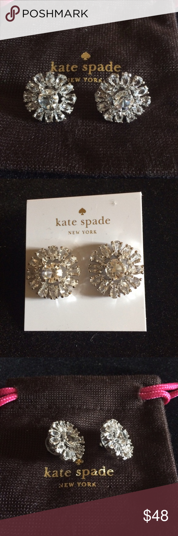 Kate Spade Rise To The Occasion Stud Earrings Crystal encrusted flower studs, 14k gold filled post. kate spade Jewelry Earrings