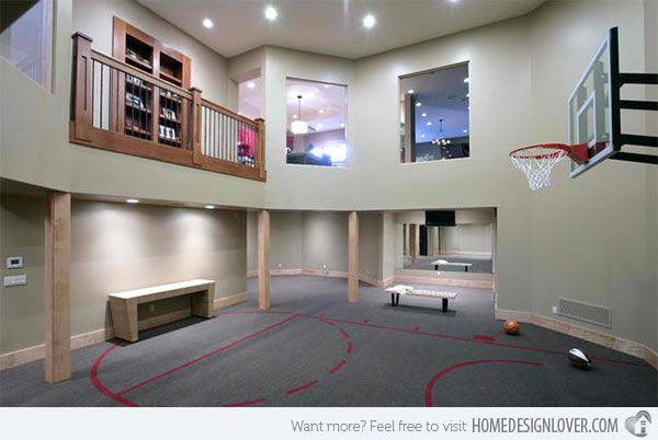 15 Ideas For Indoor Home Basketball Courts Home Design Lover Home Basketball Court Home Gym Design Basketball Room