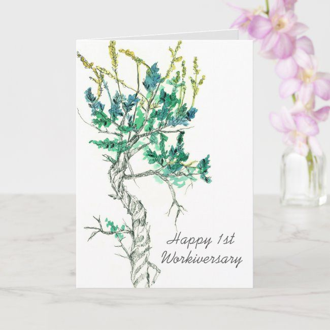 Happy First Workiversary Employee Sagebrush Plant Card , #affiliate, #Sagebrush#Plant#Card#Employee #Ad