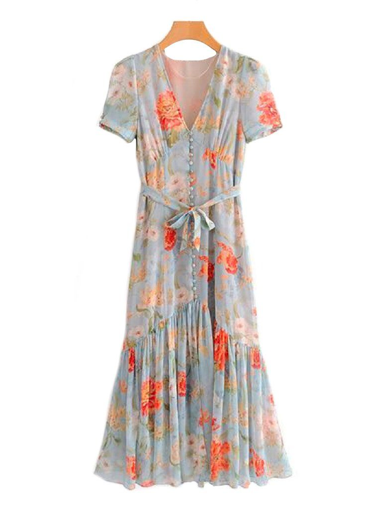 82275bd2a7f2  Maddie  Button and Tie Wild Floral Print Maxi Dress Front Goodnight  Macaroon.