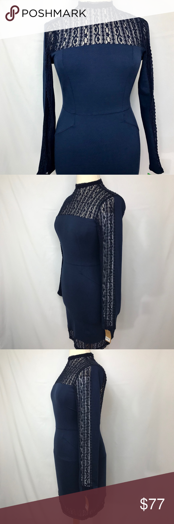 Navy Waist Accenting Lace Detailed Slim Fit Dress Beautiful Body Con Style Club By Rachel Roy Measurements Laid Flat Bust