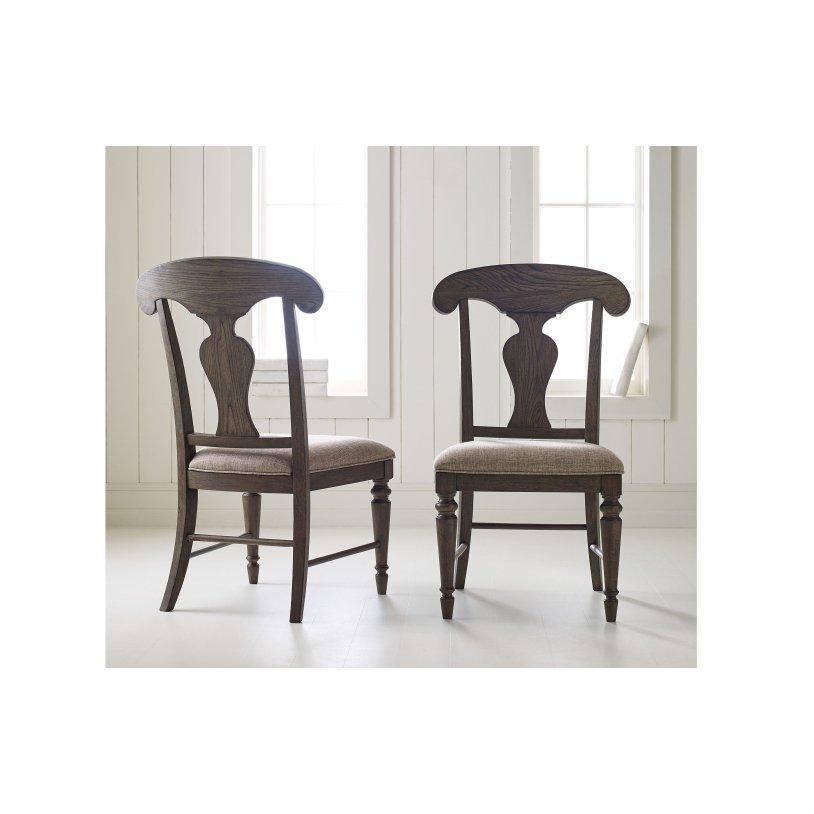Dark Brown Splat Back Upholstered Dining Room Chair Brookhaven