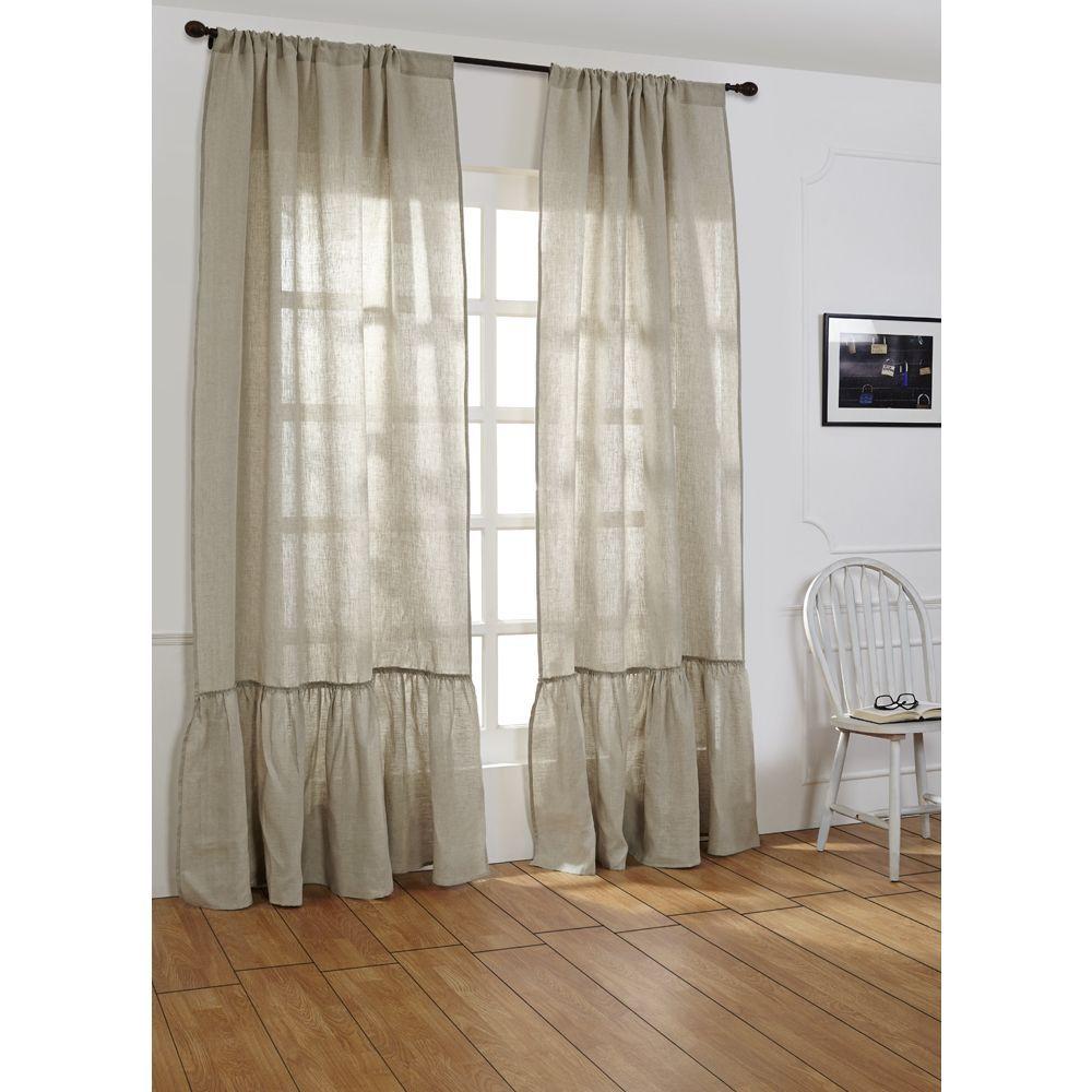 Laila Linen 96 Inch Curtain Panel 42 X 96 Shabby Chic Bathroom